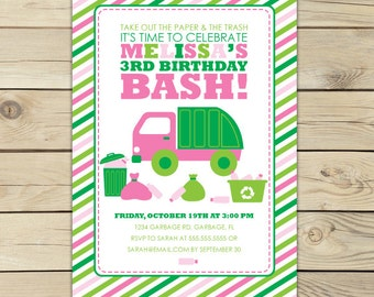 Garbage Truck Invitation - Girl Birthday Party Printable - Pink and Green - Girl Dump Truck