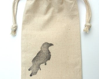 "ADD a Gift Bag, Hand Stamped Muslin 8"" x 5"""