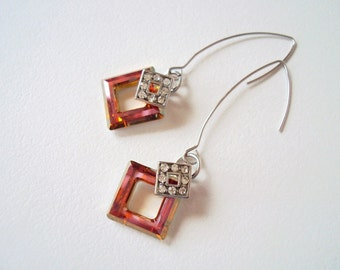 Orange Geometric Earrings, Square Earrings, Swarovski square, Tangerine, Estate Jewelry, Elegant, Long Earrings