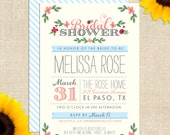 Whimsy Bridal Shower Invitation- Printed Invitations or Printable Files