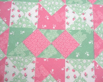 Pink and Green Patchwork Print Fabric 1/2 Yard