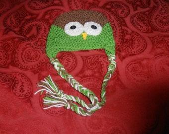 crochet childs owl hat