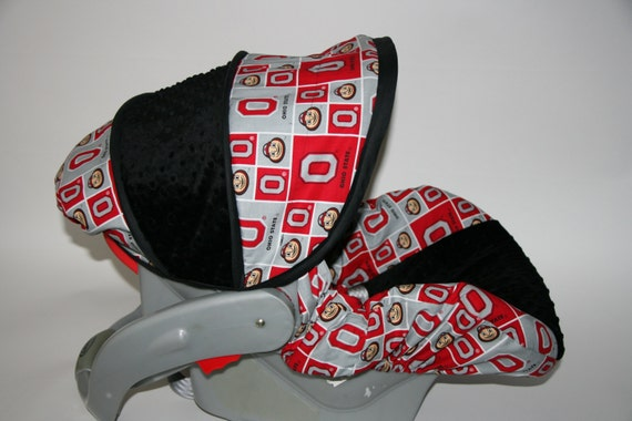 ohio state with black minky osu infant car seat by babycovers2010. Black Bedroom Furniture Sets. Home Design Ideas