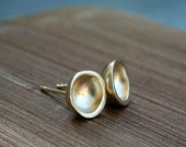 Gold earrings - gold stud earrings - bowls - gold plated post earrings