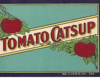 Tomato Catsup Vintage Bottle Label, 1910s