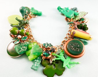 Easy Being Green One of a Kind Repurposed Vintage Jewelry Charm Bracelet
