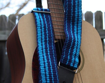 Blue Stripes Guitar Strap - Adjustable - Black Leather Ends - Nickle Slider