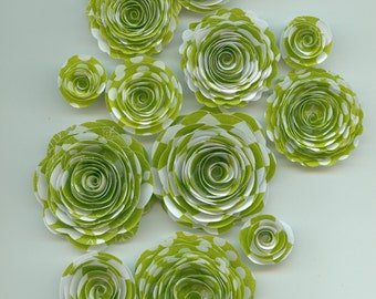 Lime Green Patterned Handmade Rose Spiral Paper Flowers