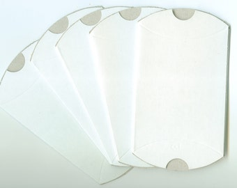 White Gloss Pillow Boxes, Great for Party Favors, Events, Present Container