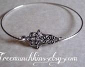 Hamsa Bracelet, Hand of Fatima Bangle Bracelet, Silver Hand of Miriam Layering Bangle, Minimalist,  Stacking Bracelet
