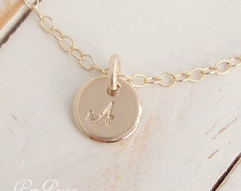 Tiny Gold Initial Necklace/14k Gold Filled/ Personalized Tiny Dot/ New Script Font/ Handmade/ Hand Stamped/ You choose font and Initial