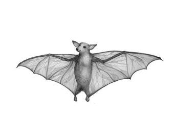 5x7 Giclee Print Halloween Bat from Original Illustration