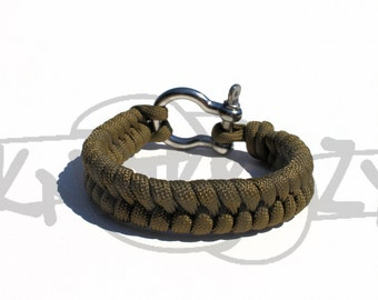 Single Color FISHTAIL 550 Paracord Survival Strap Bracelet with Stainless Steel Shackle