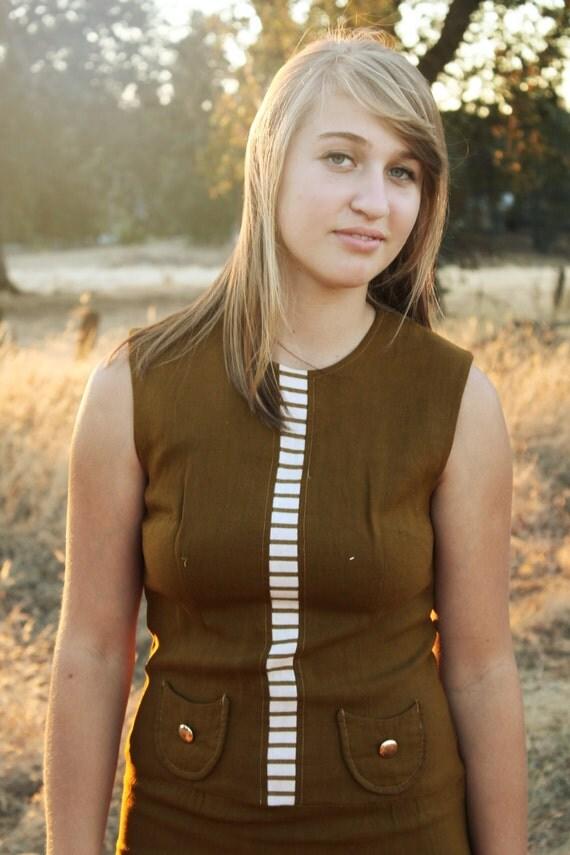 MUSTARD SEED Vintage Day Dress  I960's Kitsch Mini Mod Stripes