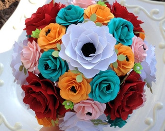Paper Bouquet - Paper Flowers - Wedding Bouquet - Bridal Bouquet - Customize Your Colors - Made To Order