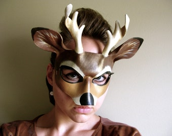 Buck Leather Mask - Adult or Child Sizes - Deer - His and Hers - Masquerade Mask - Reindeer Costume - Buck - Stag - Animal Mask - Doe Deer