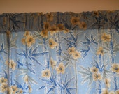 Blue white and tan floral valance