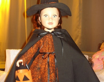 Fancy witch costume with dress, cape, hat and treat bag for 18 inch Dolls - ag195