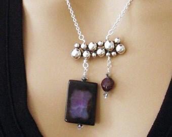 Purple Amethyst Necklace, Asymmetrical Statement Necklace, Amethyst Jewelry, Large Amethyst Pendant Necklace, February Birthstone Necklace