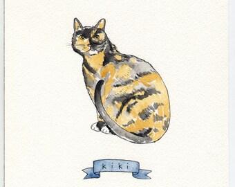 "Custom Animal Portrait Example 8x10"" Watercolor Illustration"