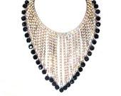 Vintage 1960s Designer Runway Necklace Bib AB Rhinestones Alice Caviness