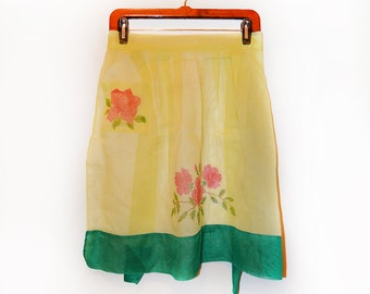 Vintage Yellow Sheer Organza Hostess Apron