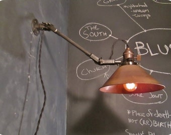 Vintage Industrial Wall Lamp - Machine Age Task Light - Cast Iron - Steampunk