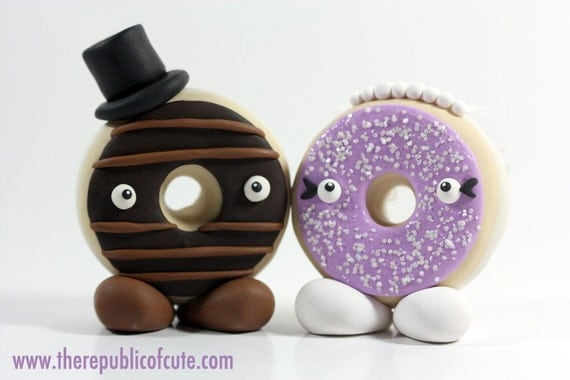 Donut Bride and Groom Wedding Cake Toppers - Custom and Made to Order