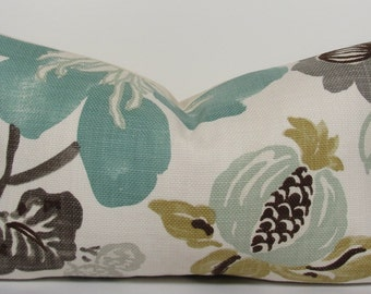 Turquoise Teal Decorative pillow cover - Kravet - Designer throw pillow - Floral pillow - Lumbar pillow  - teal - aqua - turquoise