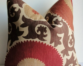 Designer Fahri Suzani Brown rust red tan Decorative pillow cover, bulls eye scroll Throw pillow accent square