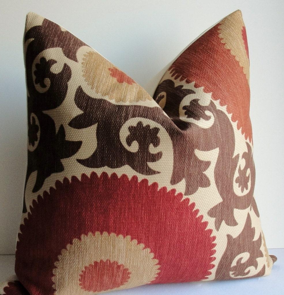 Red Tan And Brown Throw Pillows : Designer Fahri Suzani Brown rust red tan Decorative pillow
