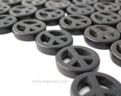 """Peace Sign Beads, Black Magnesite Stone Beads, Small 15mm, 16"""" Strand (27pc)"""