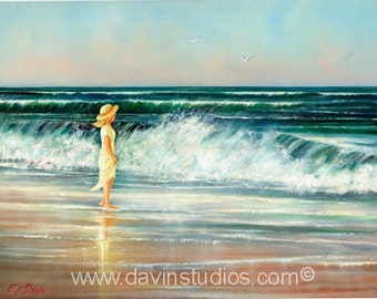 "Girl on a beach looking out to sea original oil painting called ""What A Beautiful Day."""