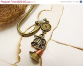 Personalized French Horn Bookmark/ Hand Stamped / Personalized/ Initials/ Great Gift.