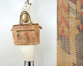 70s Vintage Geometric Print Tan Leather Handbag