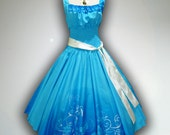 Bonnie Pretty Turquoise Floral 50s Pin up Rockabilly Swing Dress Full Swing Skirt size M-L