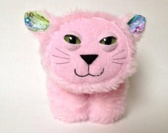 Cat plush, stuffed furry kitty- Candy the pink plush cat