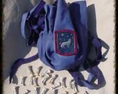 ICE BLUES Howling Wolf  with Stars  Futhark 24 rune set  Grey Wolf bone with Goatskin bag   High Quality  heathen pagan