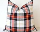 Modern Plaid Designer Pillow Cover 20 Red Black Yellow White Accent Throw Cushion Robert Allen Design Cabin holiday Tartan