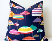 "Umbrella modern Pink Navy Yellow Decorative Designer Pillow Cover 18"" Accent Cushion Resort summer nautical Palm Springs indigo beach"
