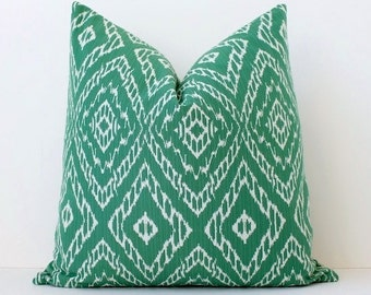 Ikat strie Modern Decorative Designer Pillow Cover Emerald Green White diamonds Throw Cushion suzani geometric boho seafoam mint malachite