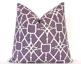Violet Lattice decorative Designer Pillow Cover 18 cream Accent Throw Cushion hollywood regency geometric lilac radiant orchid purple