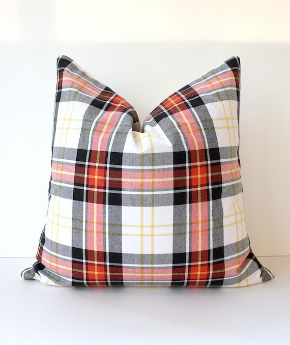 Modern Plaid Pillow : Modern Plaid Designer Pillow Cover 20 Red Black Yellow White