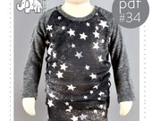 Raglan shirt pattern pdf download, photo tutorial, Long and Short sleeves, sizes 0M-6T -Pattern 34