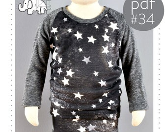 Raglan shirt pattern // pdf download // photo tutorial // long and short sleeve // 0M-6T // #34