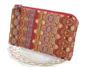 Small Zipper Pouch, Change Purse, Coin Pouch - Fiesta Stripe in Red, Gold and Aqua