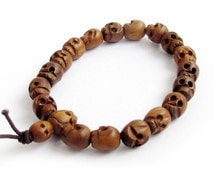 10mm x 8mm Jujube Wood Carved Skull Beaded Hand String Prayer Beads Tibet Buddhist Mala Bracelet  T2597