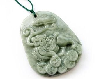 Talisman Good Fortune Grade A Jadeite Jade Kylin Qilin Dragon Ru-Yi Amulet Pendant  T3018