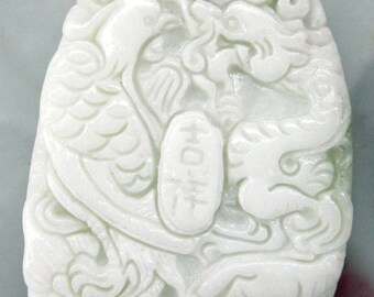 Natural Stone Bead Carved Auspicious Dragon Phoenix Ji-Xiang Amulet Talisman Pendant 50mm x 23mm  TH234