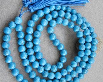 8mm Imitate Blue Turquoise Round Rosary Beaded Tibet Buddhist 108 Prayer Beads Mala Necklace  ZZ065